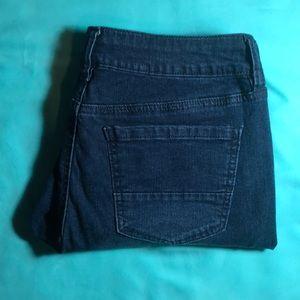 Dark Blue Ripped Refuge Cropped Jeans